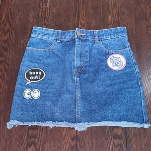 $7*Extra 50%OFF XXI Jean Patch Skirt